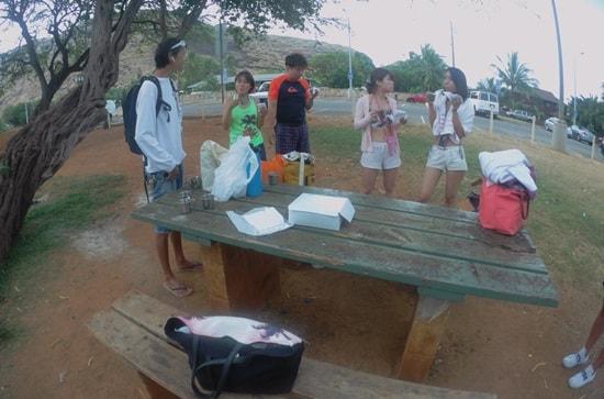 ナナクリのビーチパークで朝食