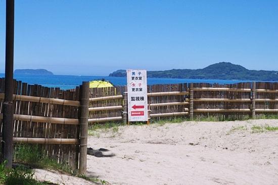 菊ヶ浜海開きで監視棟と更衣室