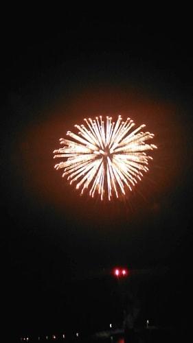 住吉神社例祭から見える萩・日本海花火大会の花火